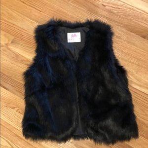 Girls Justice black faux fur vest